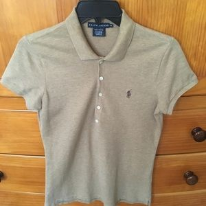 Tan Ralph Lauren polo shirt